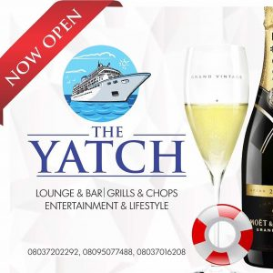 The Yatch Lounge ......Lounge & Bar......Grills & Chops......Entertainment & Lifestyle. The Yatch Lounge is located inside Kenfeli Palm Beach Hotel, Barnawa, Kaduna. Tel: 08037202292. IG : @theyatchlounge TWITTER : @theyatchlounge