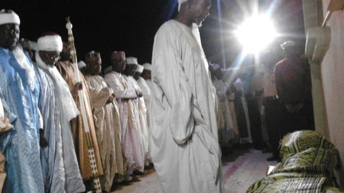 Funeral prayer of late Representative Abdullahi Wamakko being performed Friday night at the palace of Baraden Wamakko in Wamakko, Sokoto state where he was finally buried.