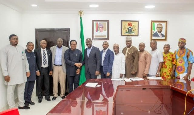 *Governor Godwin Obaseki of Edo State (6th from left); Chief of Staff to the Governor, Mr. Taiwo Akerele (7th from left) with executives of the Niger Delta Power Holding Development Company (NDPHC) who paid the governor a business visit in his office yesterday