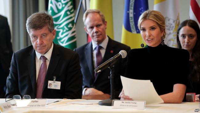 Ivanka Trump, right, speaks during a session on action to end forced labor, modern slavery and human trafficking as Guy Ryder, left, director general of the International Labor Organization listens, during the United Nations General Assembly, Sept. 19, 2017, at U.N. headquarters.